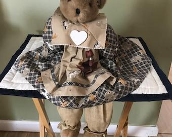Beautiful Shelf Sitting Wooden Body Teddy Bear* Long Floppy Legs* In Country Style Dress*Matching* Head Band*