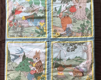 """SALE 10% Off***Vintage Hand Made Four Square Sections Of Bunny Rabbits In The Park* Two Sided Quilt* 24"""" W Z 26"""" Tall"""