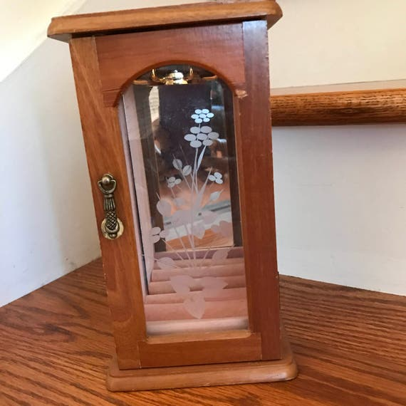 Wood Jewelry Box Floral Glass Door Mirrored Back