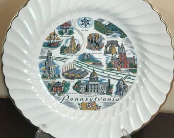 "Beautiful *SHEFFIELD Bone White* Collectors Plate*With Scenery From Pennsylvania* With Gold Trim* 10"" USA*"