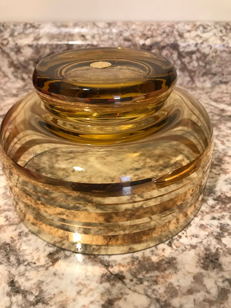 Vintage* Beautiful Gold Amber Lidded Glassware Bowl With Cover* And Gold Color Circular Design* Romania* 7.5 T X 6.25W