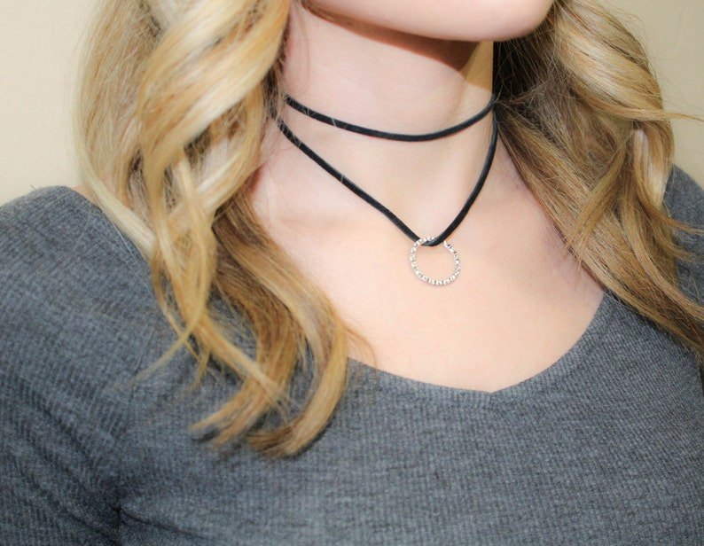 dec87258a Double Ring Choker Necklace Layered Necklace Adjustable
