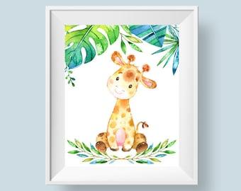 Baby Giraffe Print, Jungle Safari Nursery Print, Printable Wall Art, Baby Room Decor Leaves Flowers 8x10 A4 Instant Digital Download