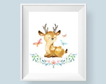 Woodland Nursery Decor Deer Print, Butterfly Watercolor Floral Printable Wall Art, Boys or Girls Art 8x10 11x14 Instant Digital Download