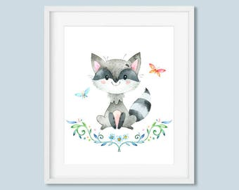 Woodland Animals Nursery Decor Racoon Print, Butterfly Watercolor Printable Wall Art, Boys or Girls Art 8x10 11x14 Instant Digital Download