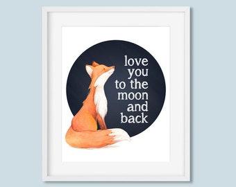 Love You To The Moon and Back Printable Wall Art Fox Woodland Nursery Print, Boy or Girls Chalkboard Print 8x10 11x14 Digital Download