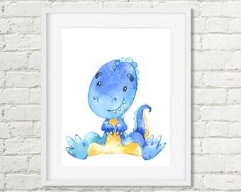 Blue Dinosaur Room Decor, Dinosaur Nursery Printable Wall Art, Tyrannosaurus Rex Watercolor Boys or Girls Kids Dinosaur Art Digital Download