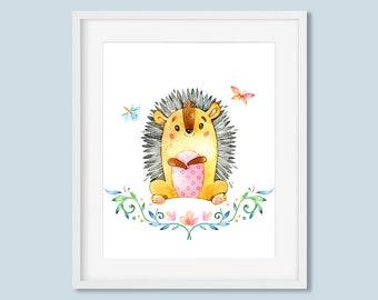 Woodland Nursery Decor Hedgehog Print, Butterfly Dragonfly Watercolor Printable Wall Art, Boys or Girls Art 8x10 11x14 Digital Download