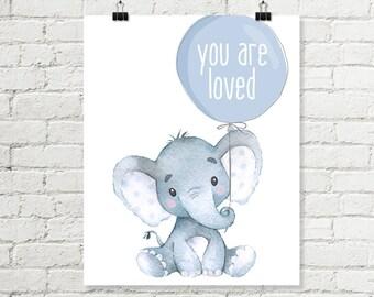 Baby Elephant Nursery Print You Are Loved Balloon Printable Wall Art, Safari Jungle Boys Watercolor Decor 8x10 A4 Grey Blue Digital Download