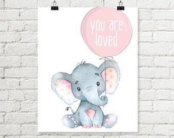 Baby Elephant Nursery Print You Are Loved Balloon Pink Printable Wall Art Safari Jungle Girls Nursery Decor 8x10 11x14 Grey Digital Download