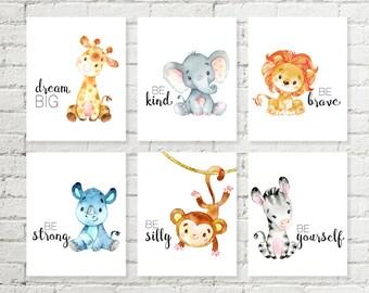 Safari Nursery Print Giraffe Elephant Lion Rhino Monkey Zebra Jungle Animals Printable Wall Art Baby Shower Gift 5x7 8x10 10x10 Set of 6