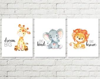 Safari Nursery Print, Giraffe Dream Big, Elephant Be Kind, Lion Be Brave Baby Shower Gift Printable Wall Art 5x7 8x8 8x10 11x14 Download
