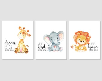 Safari Nursery Art Baby Giraffe Elephant Lion Print Jungle Decor Dream Big Be Kind Be Brave Printable Wall Art 5x7 8x8 8x10 11x14 Download