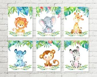 Jungle Safari Nursery Print Giraffe, Elephant, Lion, Rhino, Monkey, Zebra Animals Printable Wall Art Baby Shower Gift 5x7 8x10 Set of 6