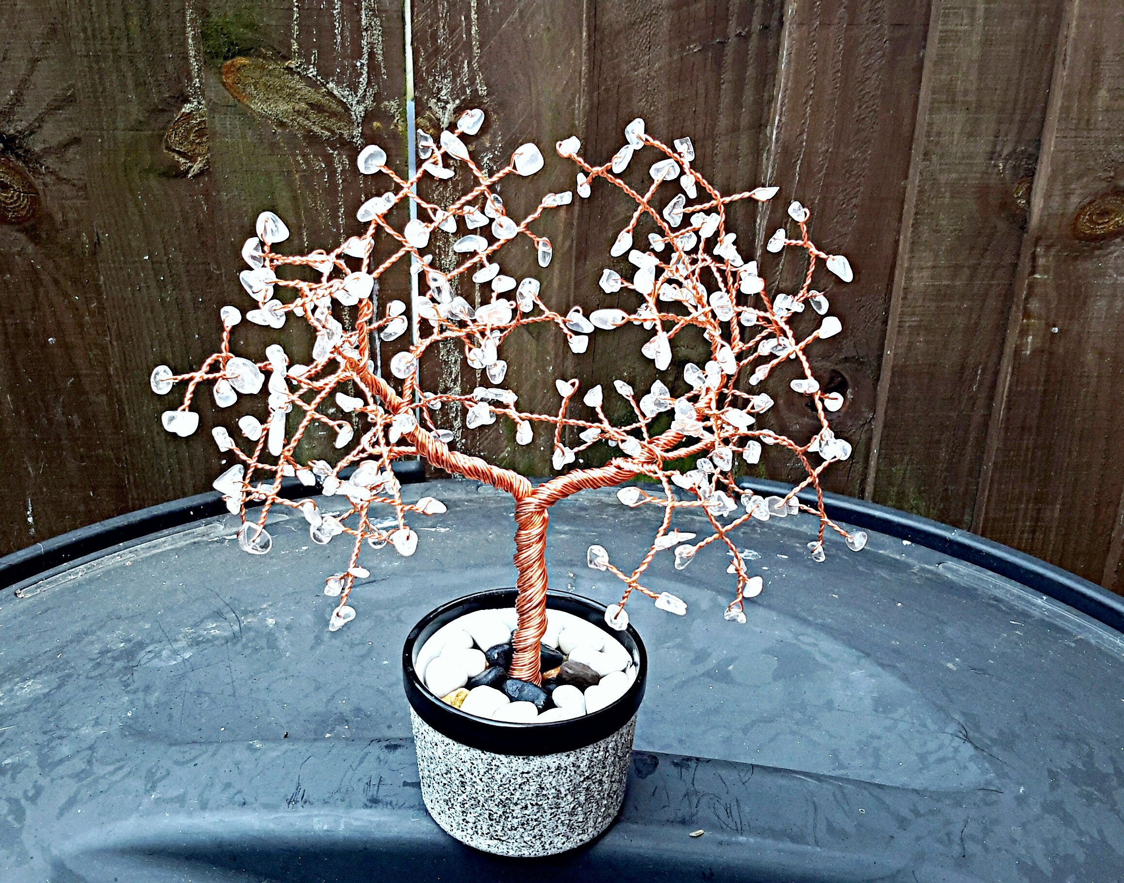 Clear Quartz Gemstone Tree Gem Crystal Feng Shui Wiring Bonsai Seedlings Wealth Wire Sculpture Home Decor