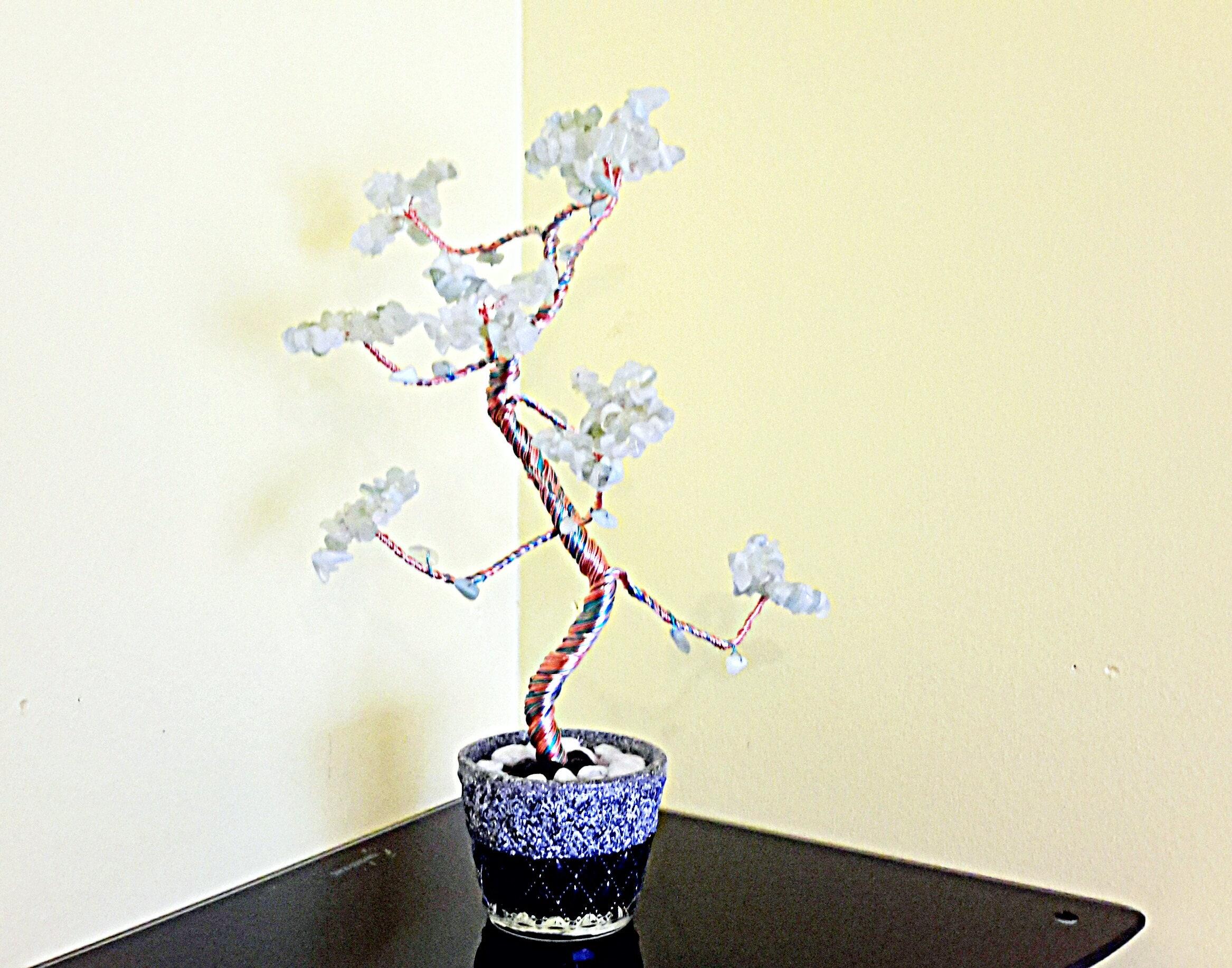 Jade Gem Tree Gemstone Protection Crystal Bonsai Wiring Seedlings Feng Shui Of Life Wire Sculpture