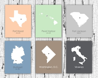 Where We've Lived, Travelling Family, Retirement Gift, Anniversary Gift, Army, Navy, Marine, Air Force, Military, PCS, Christmas Mom Dad
