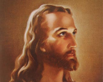 "HEAD of CHRIST by Warner Sallman ~ 5"" wide x 7"" tall Religious Picture Print from Italy"