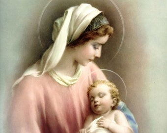 Mary and Baby Jesus MADONNA & CHILD 8x10 Print Picture Art