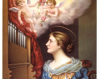 ST CECILIA, Catholic Patron Saint of Musicians Print 8x10 Religious Art Picture from Italy