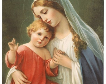 """Blessed Virgin Mary with Child Jesus Picture Print 8"""" x 10"""" Madonna and Child"""