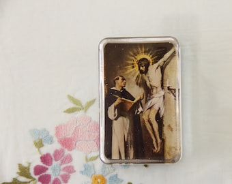 Vintage Religious Glass Paperweight with Picture of St. Thomas Aquinas