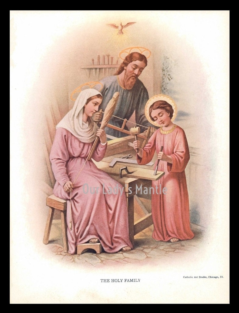 1906 Color Print THE HOLY FAMILY Jesus Mary and Joseph | Etsy