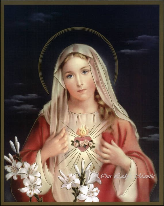 "IMMACULATE HEART of MARY 8x10/"" Catholic Print Picture SACRED HEART of JESUS"