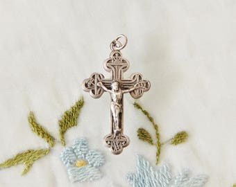 """7/8"""" Tall Rare Vintage French Silver Arma Christi Rosary Crucifix or Necklace Pendant"""