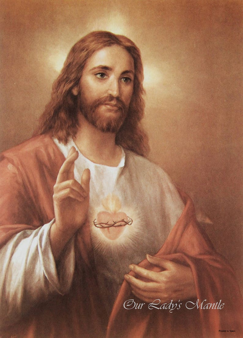 cb866e588ec Sacred Heart of Jesus Print by La Fuente 5 1 4 wide x