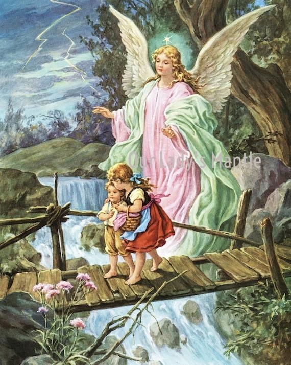 Guardian Angel Bridge Children Wall Picture Art Print