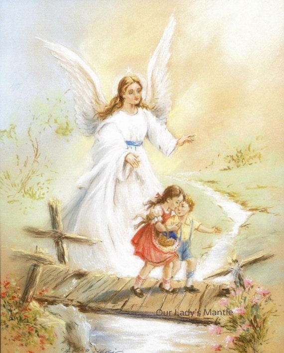 Guardian Angel Watching Over Children Crossing Bridge 8x10 Etsy