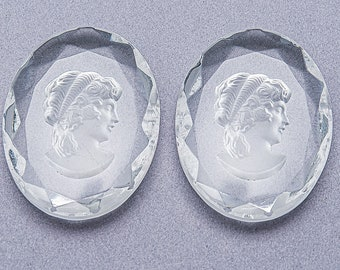 Frosted Glass Intaglio Victorian Cabochons 1pcs 35mm round Vintage Glass Crystal Intaglio Cabochon Woman and Cherub