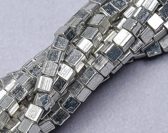 Jewelry Making Supplies SKU-MB-54-S 140 Faceted Silver Beads Plated Brass BEads 4mm Cornerless Cube Beads Spacer Beads
