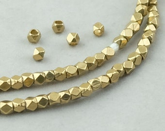 210 Brass Diamond Cut Beads. 3mm Faceted Cornerless Cube Beads. MB-166-B