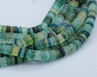 Roman Glass Beads. 220 Blue Green Roman Era Afghani Glass Beads. ROM-56