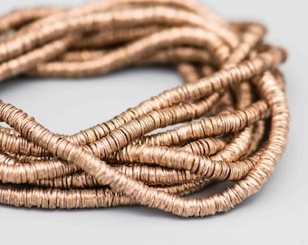 900 Interlocking Domed Copper Beads. Long strand 4mm Copper Cap Beads. MB-111-C