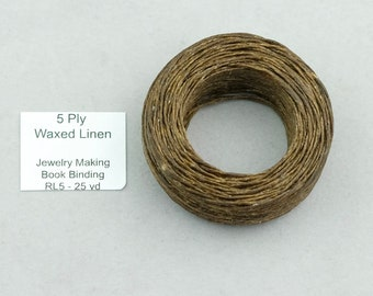 Linen cord 5 ply. Brown Natural French Linen 5 ply Thread. SKU-cord-5