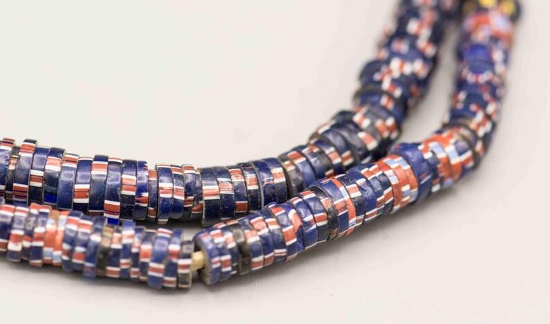 Antique Aja Chevron Venetian African Trade Beads 1x7mm 22Strand TB-172