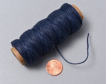 30 yards Waxed Cotton Cord. 1mm Blue Cord. USA. CORD-16