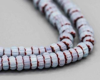 "Light Blue Glass Chevron Rondelle Beads 50 Beads 8"" Strand ICB-1"