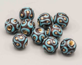 Hand Painted Wood Beads with Large Hole 10 in Set SKU-PW-3