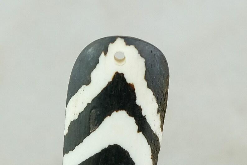 Long Batik Bone Feather Pendant from Kenya BONE-18