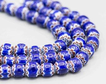 """Round Blue Chevron Beads 20 Beads on 8"""" Strand ICB-3"""