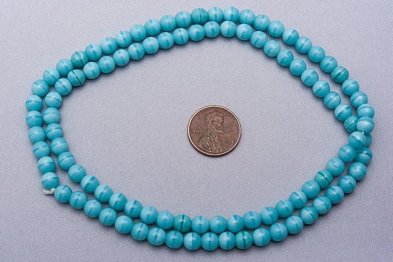 SG-45 7mm Organic glass Beads 200 Blue Glass Beads