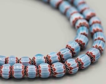 "Bright Blue Barrel Chevron Beads 22 Beads on 8"" Strand. ICB-8"