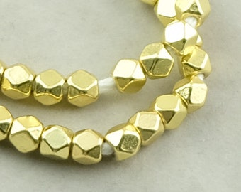 100 Diamond Cut Gold Beads. 6mm Faceted Cornerless Cube Beads. MB-165-G