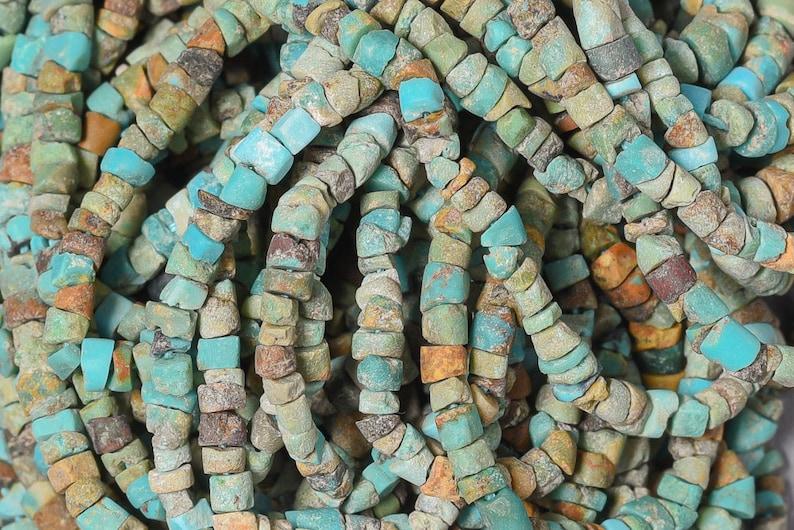 2.5mm Afghani Rustic Turquoise Tube Beas Natural Turquoise Heishi beads GM-309