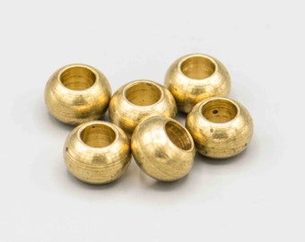 6 Vintage Solid Brass Beads Large Hole Beads Jewelry Supplies 8x12mm 5mm Hole SKU-MB-200