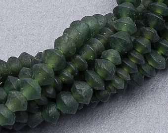 "Green Jade Bicone Beads. 12"" Serpentine Jade Gemstone Beads. GM-341"